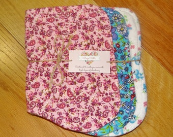 Three Layer Contoured Baby Burp Cloths  (Set of Three) ~ Baby Girl Burp Cloths ~ Burp Cloth Sets