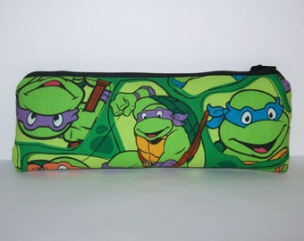 "Padded Pipe Pouch, Glass Pipe Case, Pipe Bag, Ninja Turtle Bag, Hero Pouch, Green Pouch, Geek Gift, Stoner Gift, Vape Pen Case - 7.5"" LARGE"