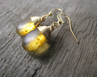 Golden teardrop Earrings gold wire wrapped earrings  glass jewelry bridesmaids light amber colored.