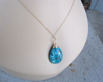 Chrysocolla Pendant Gemstone Necklace Chrysocolla jewelry 14 k gold filled wire wrapped briolette teardrop