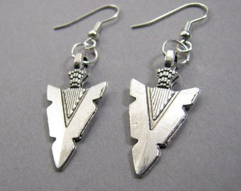 antiqued silver arrow head earrings