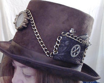 Steampunk Brown Compass Top Hat with Replica Gun.....FREE SHIP..... Cos Play, Hand Sewn Parts, watch parts Steam Punk, Gear, Cog