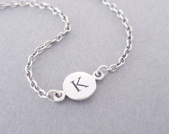 Initial K Bracelet, Silver Initial Bracelet, Silver Initial Charm, Personalized Bracelet, Letter K