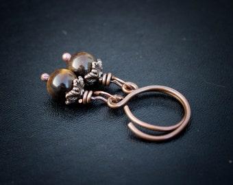 Tiger Eye Acorn Hangers. 14g Copper hoops.