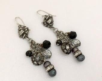 Reclaimed Vintage Rhinestone Earrings - Antique Button Dangle Earrings - One of a Kind OOAK Pierced Earrings - Unique Original Pearl Earring
