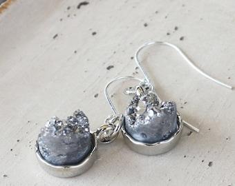Silver Gray Druzy Earrings, Silver plated earrings, druzy jewelry, gray earrings, quartz druzy, gemstone earrings, gray jewelry