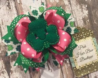 St. Patrick shamrock hair bow  - pink and green - Clover Hair Bow - Baby's First St. Patrick's Day - Pink Hair Bow Boutique