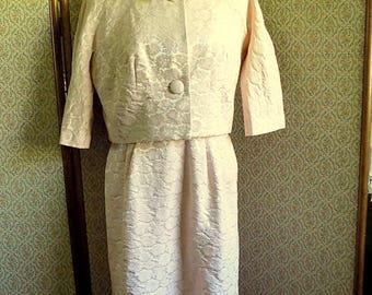 SALE - Vintage 60's Pink Brocade Dress & Jacket