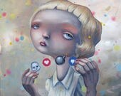 """Popsurreal original painting  """"Distracted from distraction by distraction"""""""