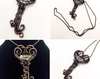 Copper Wire Wrapped Free Form Heart Key with Crystal Point Necklace
