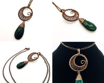 Wire Wrapped Copper Swirly Moon Necklace with Genuine Green Aventurine Faceted Tear Drop