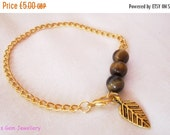 On sale Golden Tigers eye, autumn leaf charm,  vintage style gold plated chain bracelet, #170 UK SELLER