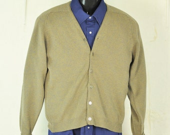 1960's Vintage Mens Cardigan Small -Medium 40 Heathered Gray Sweater Lambswool Preppy Dapper Menswear Unisex Sweater