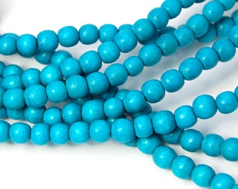 6mm Turquoise Blue Wood Beads -16 inch strand