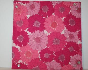 Collapsible Fabric Tray - pink daisy