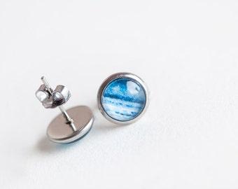 Blue Water Earrings, Blue, Water Earrings, Water Stud Earrings, Water Studs, Blue Stud Earrings, Wave Earrings, beesandbuttercups