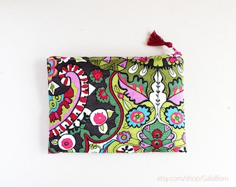 Ethnic makeup pouch, Ethnic pouch, Makeup pouch, Zippered pouch, RS