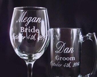 Personalized Etched Wine and Beer Mug Set - Custom Barglasses - Wedding Party Glassware - Custom Wine Glass - Anniversary Gift - Custom Beer