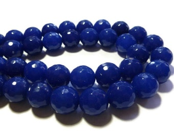Blue Jade - 14mm Faceted Round Bead - Full Strand - 27 beads - blueberry - dark blue - cobalt - navy blue