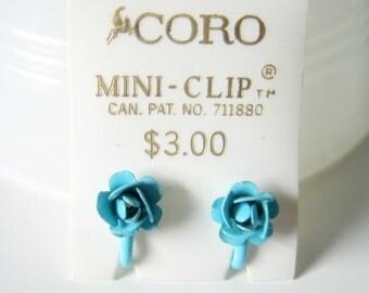 Vintage Mini Clip On Blue Rose Coro Earrings