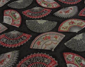 Black Cotton Fan Print Fabric Unfolding Beauty UK 1 1/2 Yds Cotton