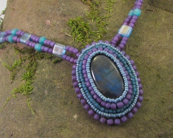 Labradorite   Bead Emroidered Necklace