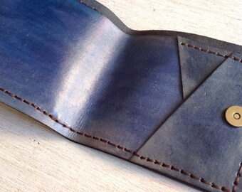 Handmade Leather wallet, hand stitched wallet, blue wallet