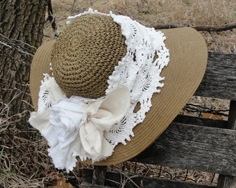 Gypsyboho sun hat, vintage chic look, gypsy hippie, vintage laces, bohemian, mori girl, Summers Breeze, spring hats