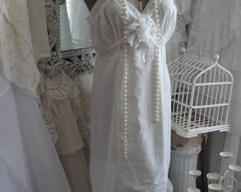 Vintage eyelet slip dress, upcycled, white cotton, shabby cottage chic, lace, mori girl, romantic, sundress, prairie