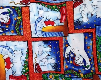 Coca Cola Polar Bear Fabric . Early 2000s . Out of Print . Christmas Material . One Yard . Spectrix