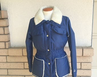 Vintage 70s Down Ski Jacket Parka w/Faux Shearling by Gerry Women's Small