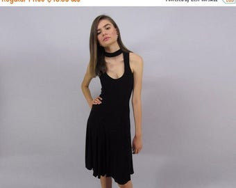 On Sale - Vintage 90s Cut Out Dress, Minimalist Black Dress, Black Jersey Dress, Little Black Dress Δ size: md / lg