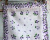 Vintage Purple Violets Floral Handkerchief 1426