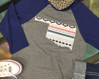 State of Oklahoma Baseball Raglan 3/4 sleeve Shirt T-shirt tribal print