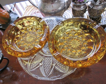 2 fairfield Ashtray by Anchor Hocking Dark amber Yellow,charming glass,vintage,70's,Collectibles,Tobacciana,Ashtrays,Periods Styles