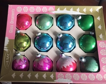 Vintage Shiny Brite Colorful Pastel Jewel Tone Glass Ornaments Mid Century Christmas
