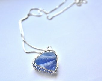 Genuine Blue Sea Glass Hand Knitted Fine Silver Wire Pendant with silver chain