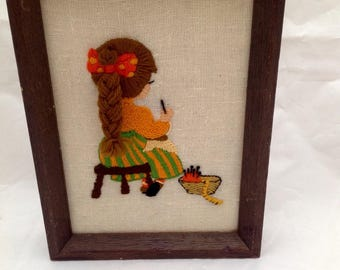 Vintage Girl with 3D Braid Sewing  Framed  Needlepoint Artwork Completed 1980's 80's