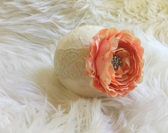 Flower Headband, Perfect Photography Prop, Beautiful 6-12 months Peachy Pink Flower on Sretchy Lace Headband, Girl Headband, Baby Headband