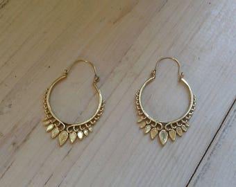 Brass earrings/Hoops/India/traditional pattern/drops/lotus