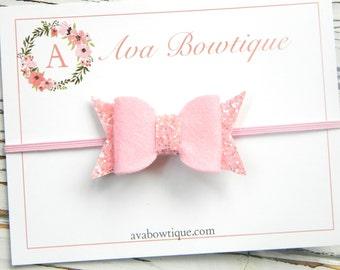 Pink Bow Headband - Baby Bow Headband - Glitter Bow Headband - Pink Bow Headband - Pink Glitter Bow Headband