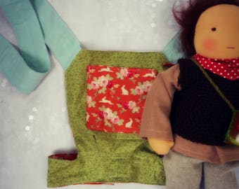 handmade reversible waldorf doll/ baby doll / teddy sling carrier (orange tilda bunnies, floral greens, duck egg blue)