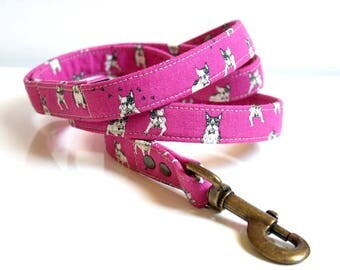 French Bulldog Cotton Linen Dog Leash - Pink- Antique Brass