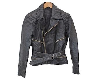 "Vintage Leather Biker jacket Perfecto Punk MOTO DRESS - XS 34"" (26163)"