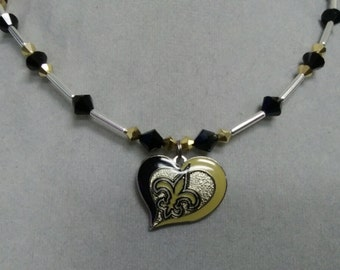 New Orleans Saints Swarovski Crystal Necklace