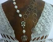 ANNE de BRETAGNE  MEDAL religious vintage  assemblage necklace