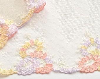 Orange, Lilac, Yellow Lace Trim, Pastel Floral Trim, Dolls, Lingerie, Lace Crafts