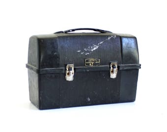 Black Plastic Lunchbox Thermos Brand Men's Dirty Old Factory Worker Lunch Box 1970s, Rusty Metal Hinges
