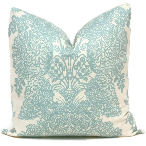 Schumacher Turquoise Lace Floral Decorative Pillow Cover