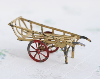 Lead Farm Cart - Antique Iron Cast Toy - Beige and red